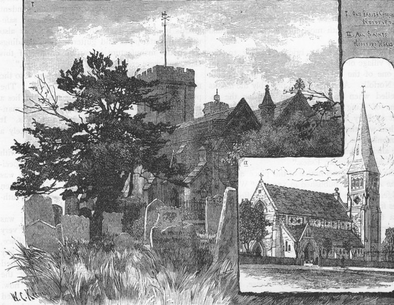 Associate Product WOODFORD CHURCHES. The Old Parish Church; All Saints, Woodford Wells 1888