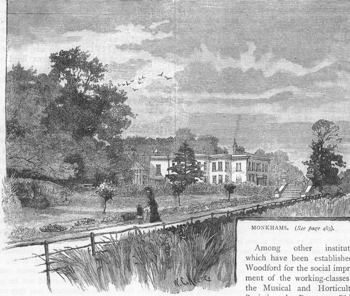 Associate Product WOODFORD AND WALTHAMSTOW. Monkhams 1888 old antique vintage print picture
