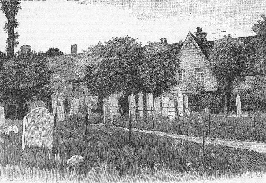 Associate Product WALTHAMSTOW. Grammar school, Almshouses, Churchyard 1888 old antique print