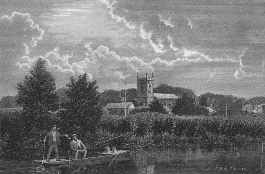 SURREY. Staines Church, from the river 1888 old antique vintage print picture