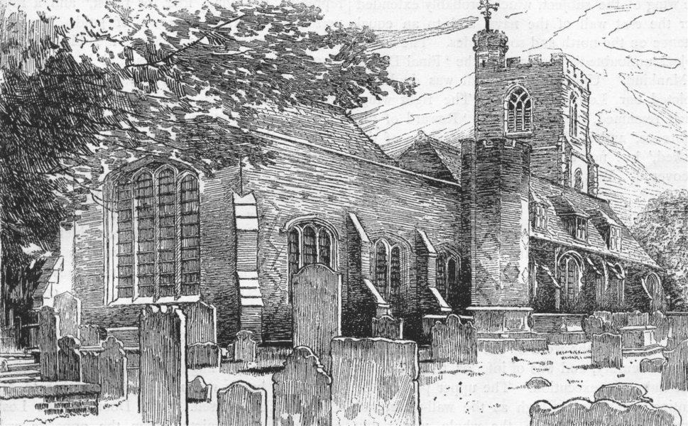 Associate Product LONDON. West Ham Church 1888 old antique vintage print picture