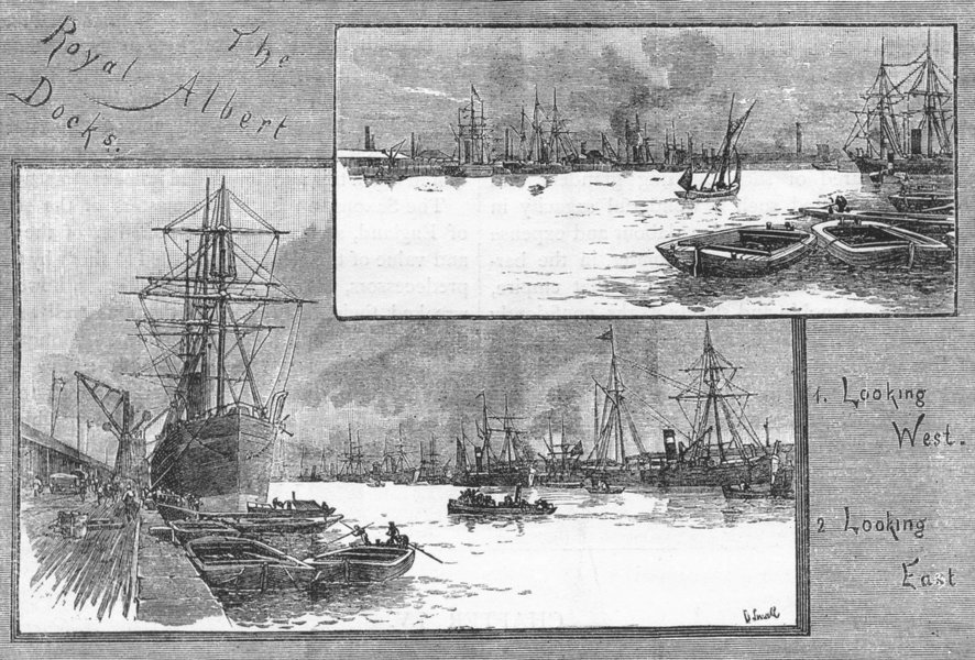 Associate Product PLAISTOW AND EAST HAM. The Royal Albert Docks. Looking West & East 1888 print
