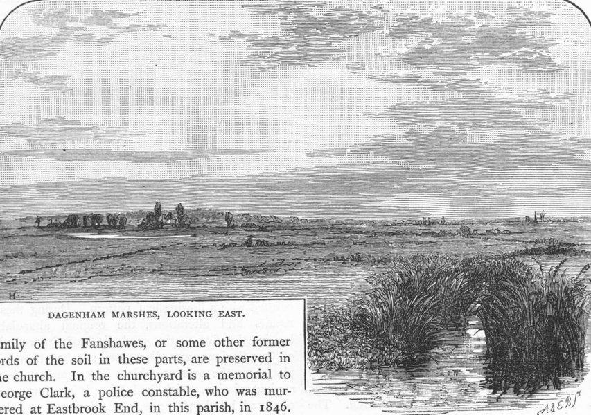Associate Product DAGENHAM. Dagenham Marshes, looking East 1888 old antique print picture