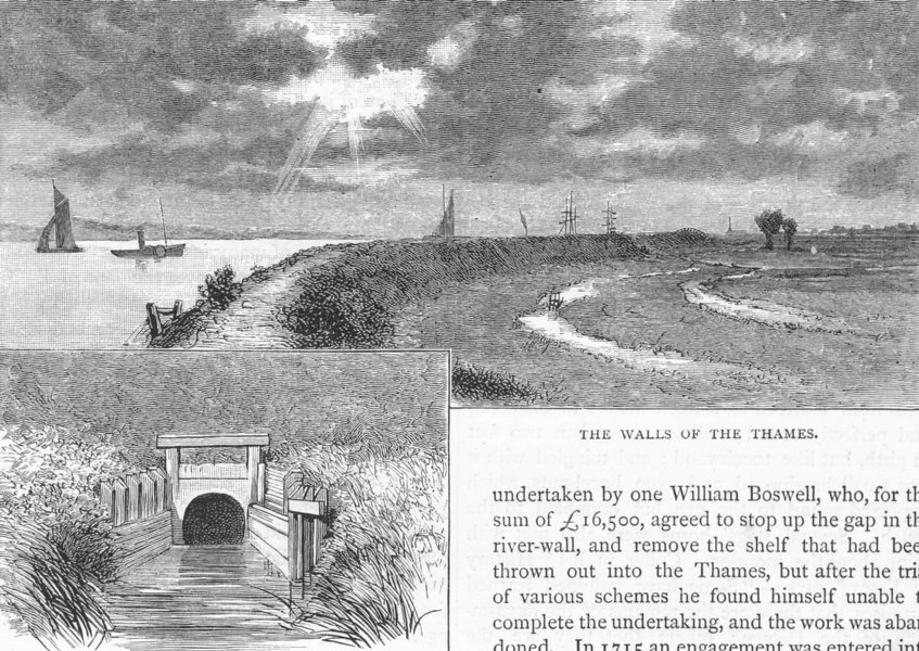 Associate Product DAGENHAM. The Walls of the Thames 1888 old antique vintage print picture