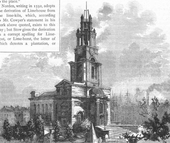 Associate Product LIMEHOUSE. Limehouse Church 1888 old antique vintage print picture
