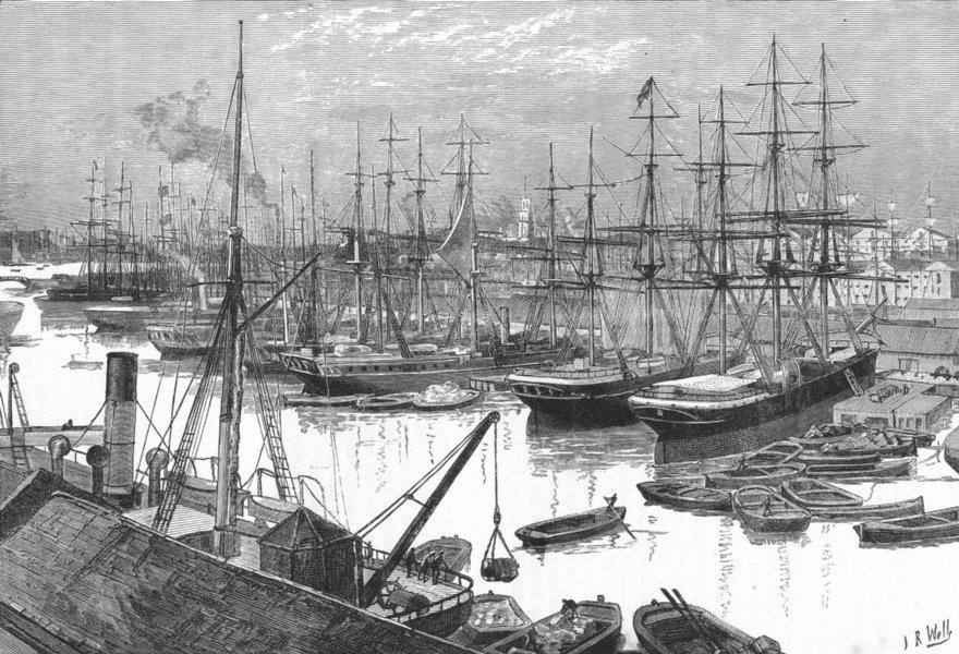 Associate Product LONDON DOCKLANDS. West India Docks 1888 old antique vintage print picture