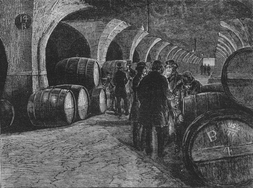 Associate Product LONDON DOCKLANDS. Vaults at the Docks 1888 old antique vintage print picture