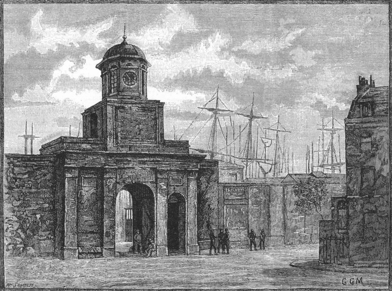 Associate Product LONDON DOCKLANDS. Entrance to the East India Docks 1888 old antique print