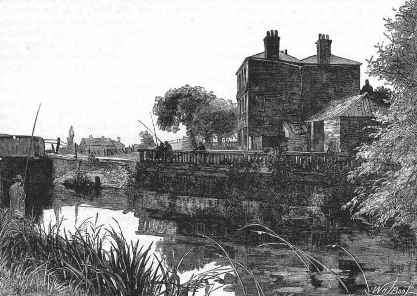 Associate Product EDMONTON. The River Lea. Cook's Ferry public house 1888 old antique print