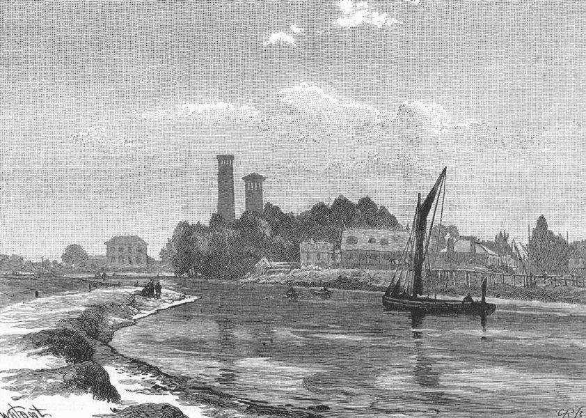 Associate Product HACKNEY.  At Lea Bridge, Lea river 1888 old antique vintage print picture
