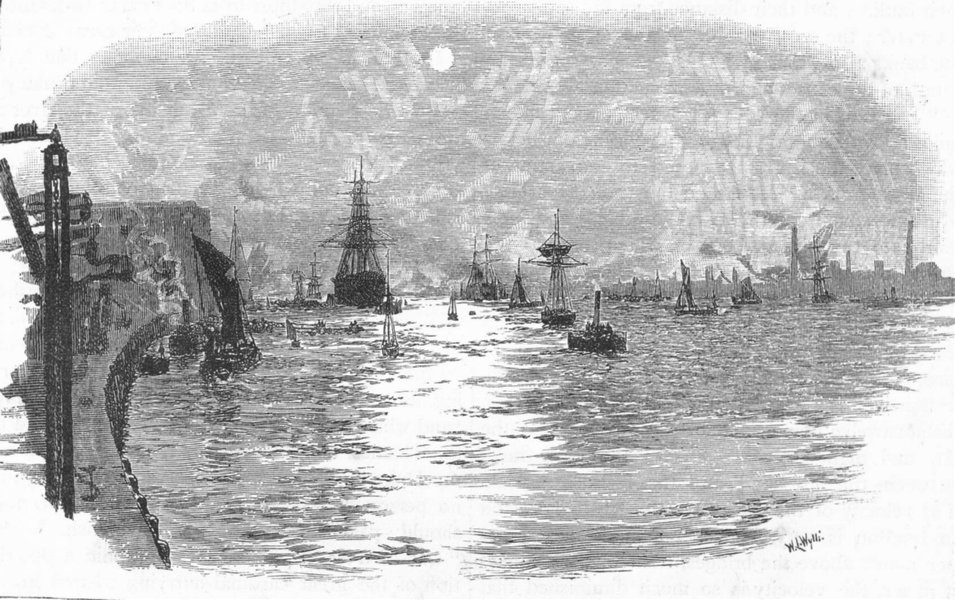 Associate Product THE RIVER THAMES. Woolwich Reach. London 1888 old antique print picture