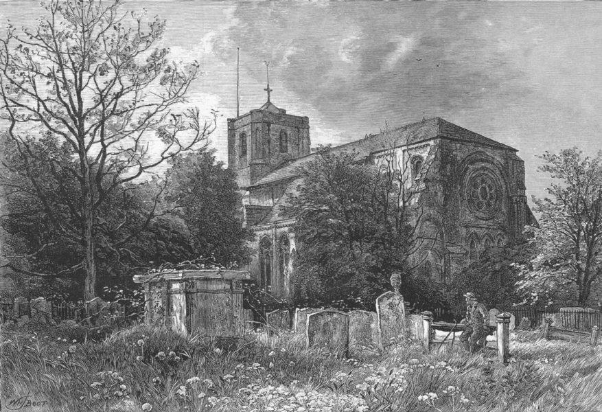 ESSEX. Waltham Abbey 1888 old antique vintage print picture