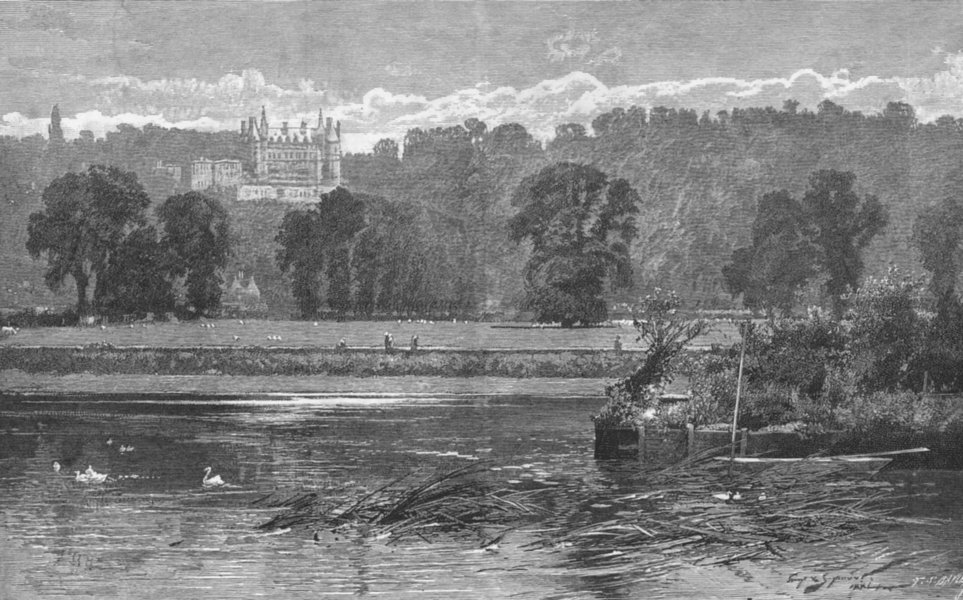 RICHMOND UPON THAMES. View of the Thames at Richmond 1888 old antique print