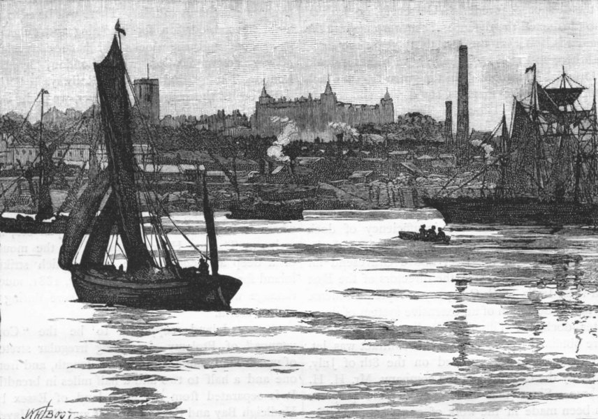 Associate Product WOOLWICH. Woolwich, from the river 1888 old antique vintage print picture