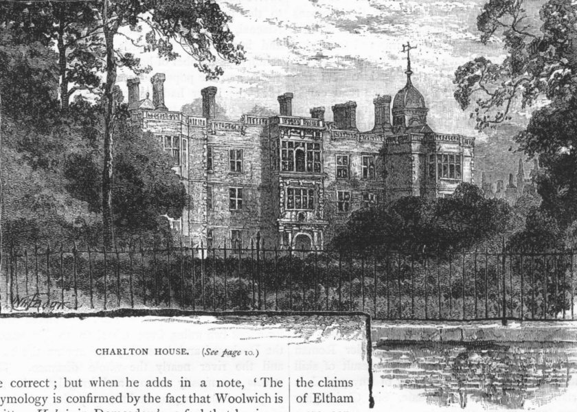 Associate Product WOOLWICH. Charlton House 1888 old antique vintage print picture
