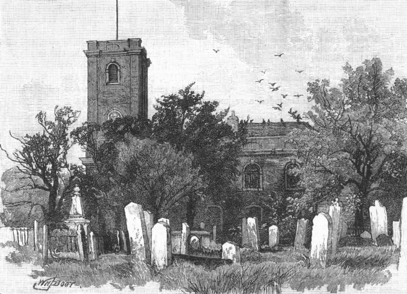 Associate Product WOOLWICH. The Parish Church, Woolwich 1888 old antique vintage print picture