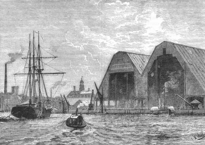 Associate Product WOOLWICH. Woolwich Dockyard, from the river 1888 old antique print picture