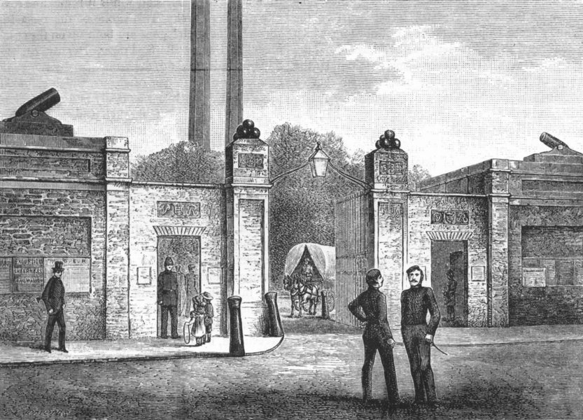 Associate Product WOOLWICH. Entrance to Woolwich Arsenal 1888 old antique vintage print picture