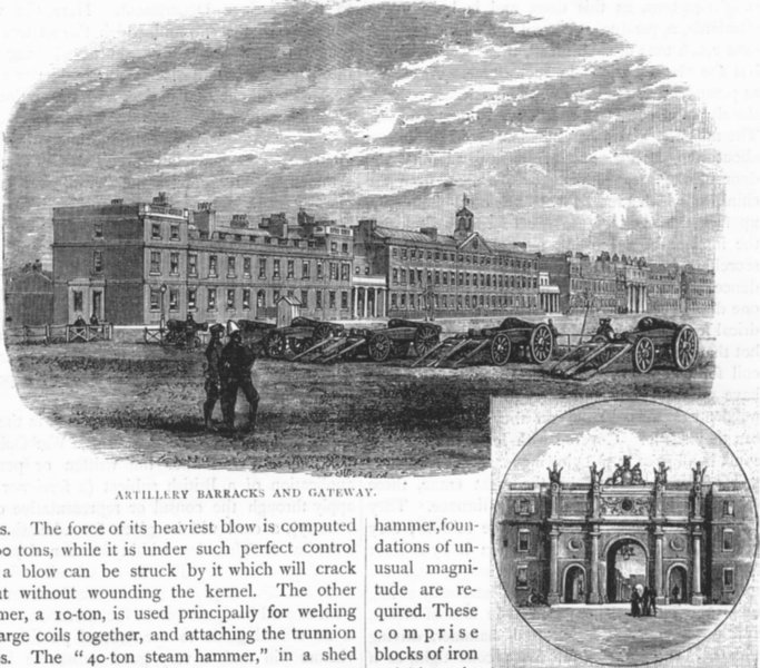 Associate Product WOOLWICH DOCKYARD AND ARSENAL. Artillery Barracks and Gateway 1888 old print