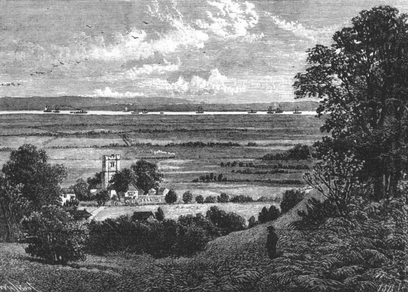 Associate Product PLUMSTEAD. Plumstead Church and Marshes in 1854 1888 old antique print picture