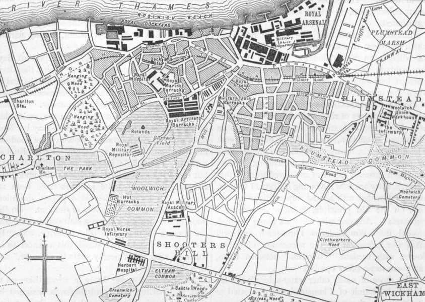 PLUMSTEAD AND EAST WICKHAM. Map of Woolwich and Plumstead 1888 old antique