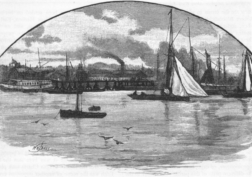 Associate Product ERITH. Erith, from the River. Kent 1888 old antique vintage print picture
