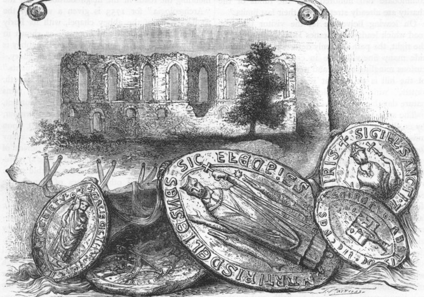 LESNES. Lesnes Abbey and Seals 1888 old antique vintage print picture