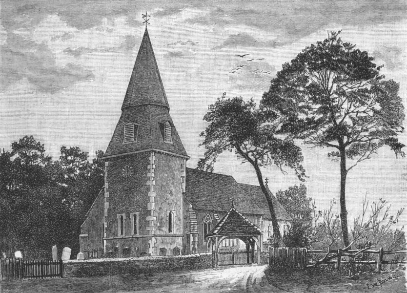 Associate Product BEXLEY. Bexley Church 1888 old antique vintage print picture