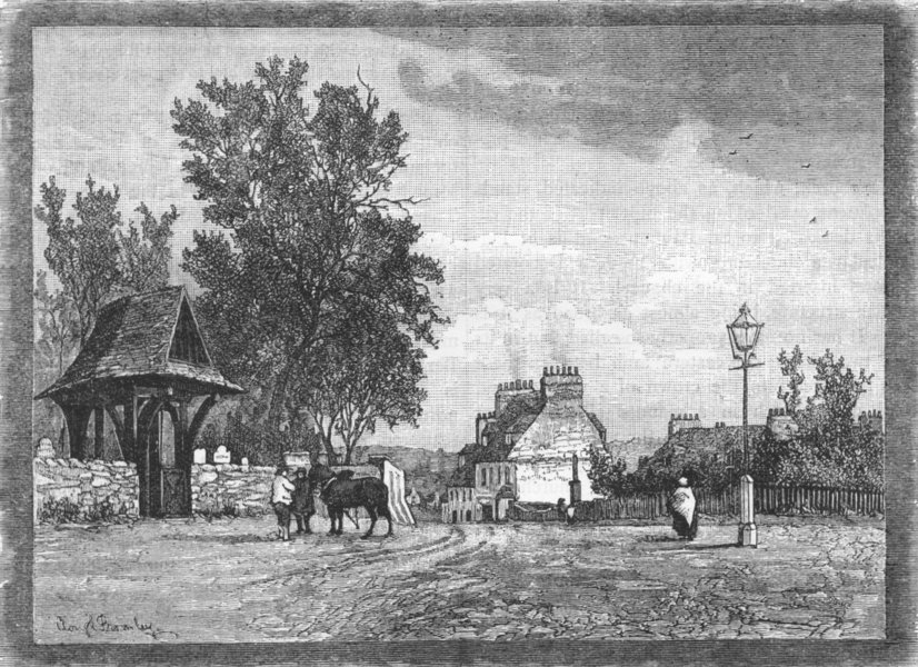 Associate Product THE CRAYS. Crayford Village, from the National Schools 1888 old antique print