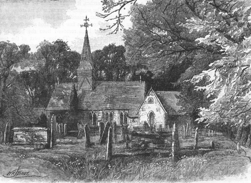 Associate Product THE CRAYS. Foot's Cray Church 1888 old antique vintage print picture