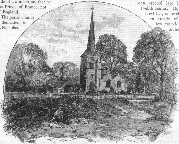 Associate Product CHISLEHURST. Chislehurst Church 1888 old antique vintage print picture