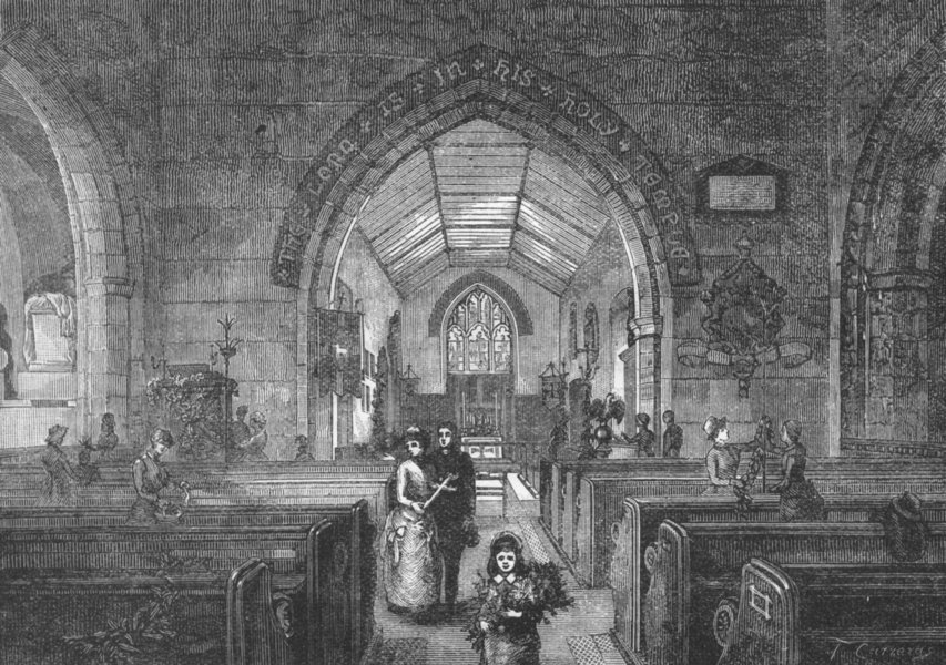 Associate Product BECKENHAM. Interior of Beckenham Church 1888 old antique vintage print picture