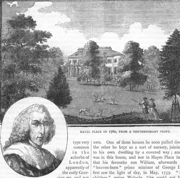 Associate Product HAYES. Hayes Place in 1760 from a contemporary print; Lord Chatham 1888