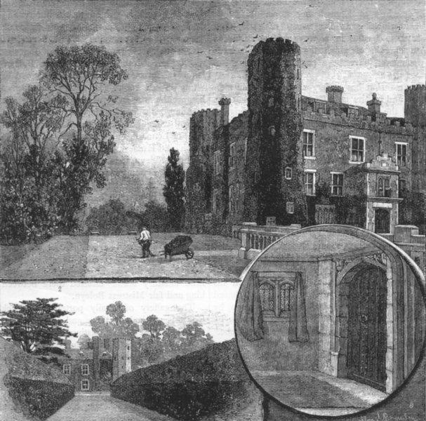 Associate Product WEST WICKHAM.Wickham Court.Garden front; Anne Boleyn's walk; Entrance Porch 1888