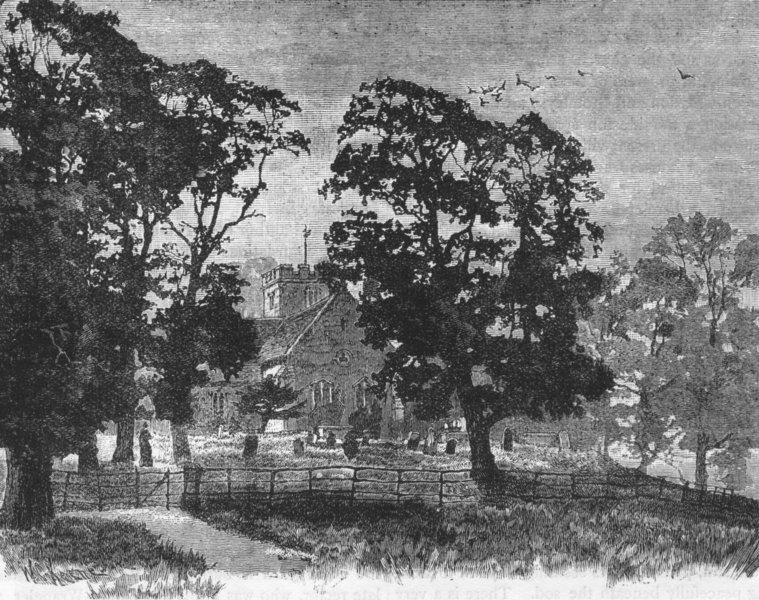 Associate Product WEST WICKHAM. Wickham Church 1888 old antique vintage print picture