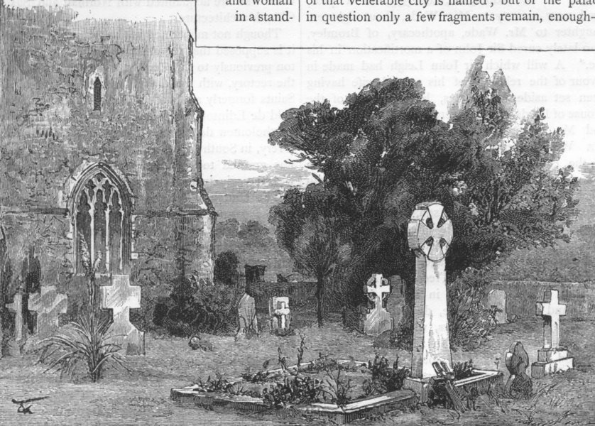 Associate Product ADDINGTON. Addington Churchyard, and Archbishop Tait's grave 1888 old print