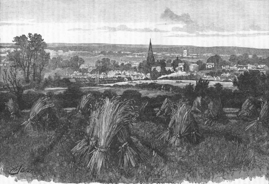 Associate Product CROYDON. Croydon, from the South-East 1888 old antique vintage print picture
