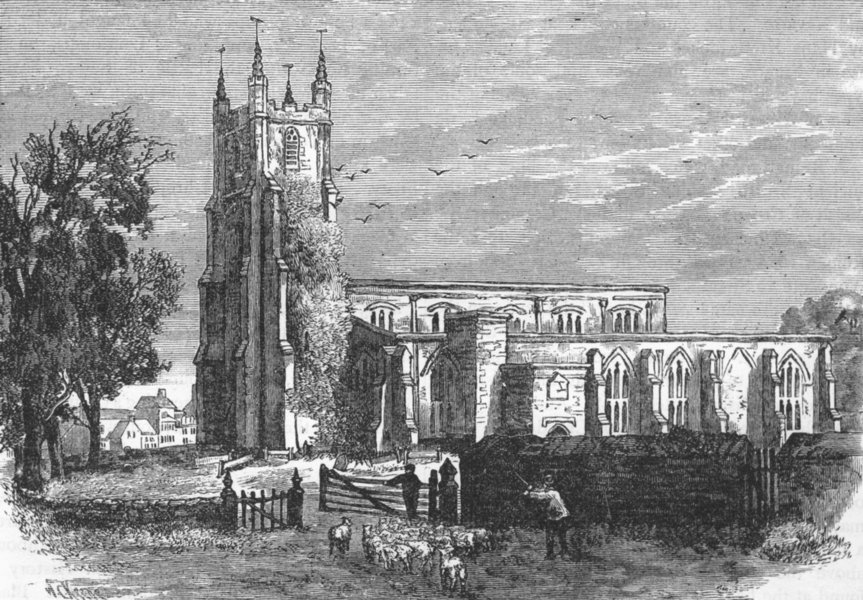 Associate Product CROYDON. Old Croydon Church, 1785 1888 antique vintage print picture