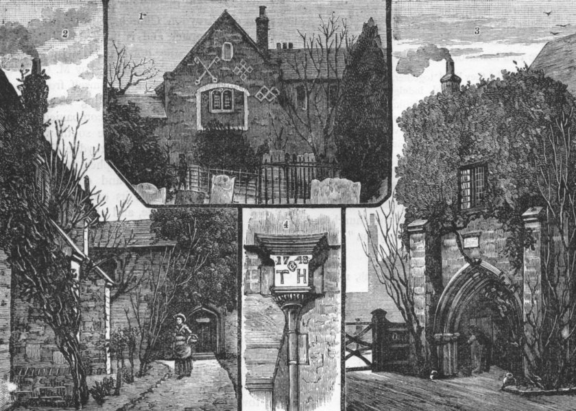 Associate Product CROYDON PALACE. West End of Chapel; Buttresses Porch Great Hall 1888 old print