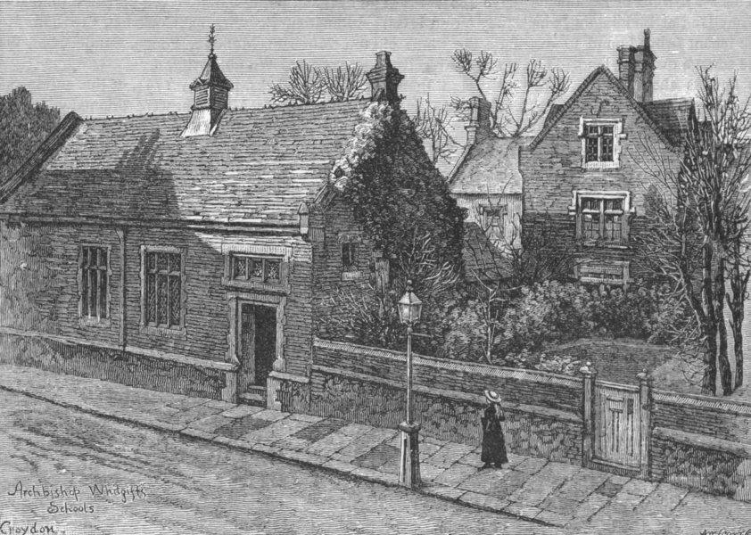 CROYDON. Head Master's House, Whitgift's Schools 1888 old antique print