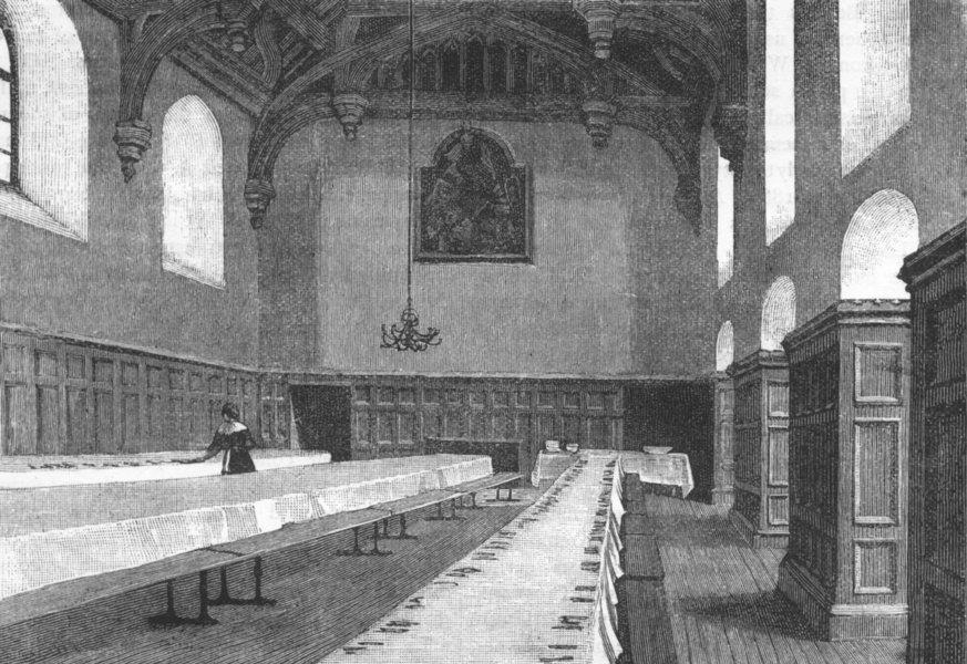 Associate Product BEDDINGTON. Hall of the female orphan asylum, Beddington 1888 old print