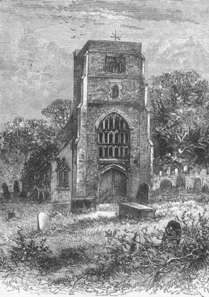 Associate Product BEDDINGTON. Beddington Church, 1840 1888 old antique vintage print picture