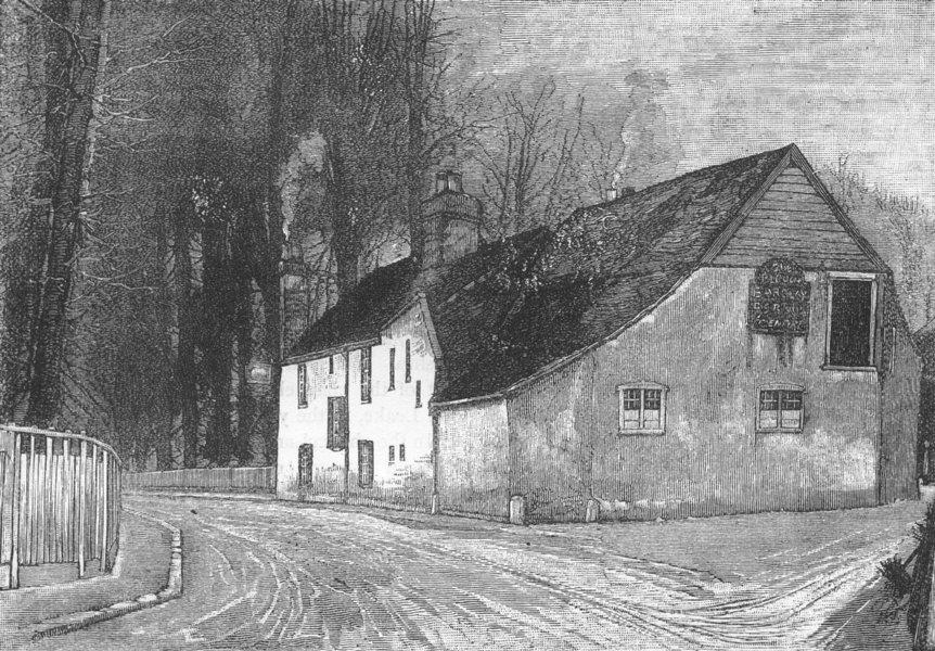 """Associate Product BEDDINGTON. The """"Plough"""" Inn, Beddington 1888 old antique print picture"""