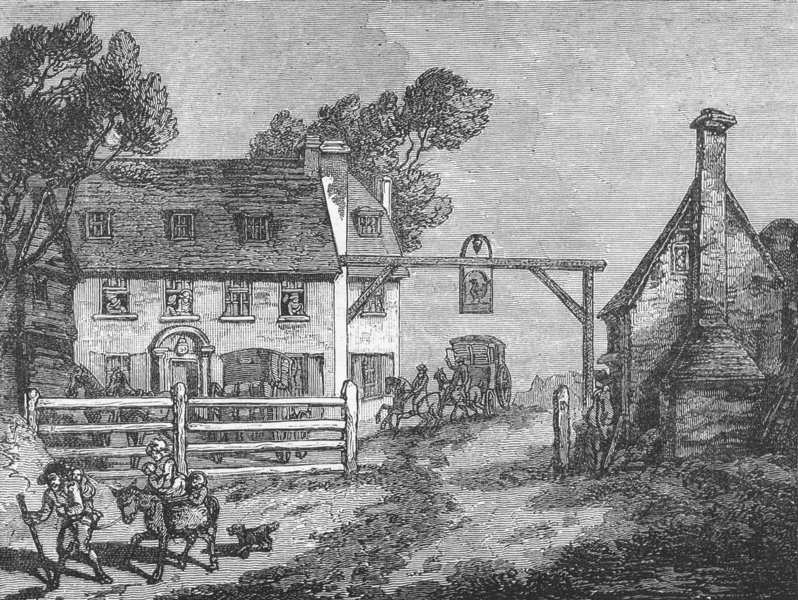 """Associate Product CARSHALTON. The """"Cock"""" at Sutton, in 1790 1888 old antique print picture"""