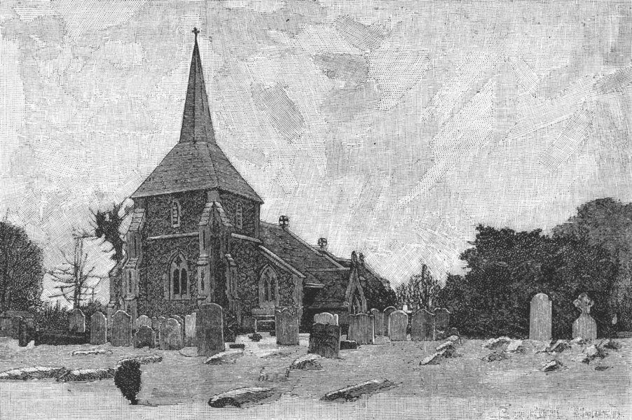 Associate Product SUTTON. Banstead Church. Surrey 1888 old antique vintage print picture