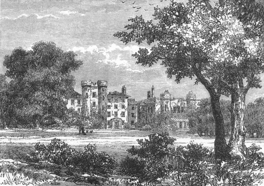 """Associate Product BANSTEAD, WOODMANSTERNE, AND COULSDON. """"The Oaks,"""" in 1840 1888 old print"""