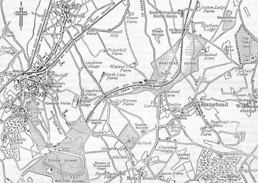 Associate Product SUTTON. Map of Banstead Downs and Vicinity. Surrey 1888 old antique chart