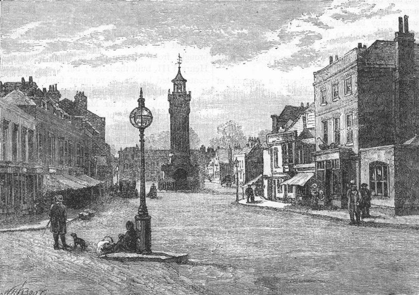 Associate Product EPSOM. Epsom High Street. Surrey 1888 old antique vintage print picture