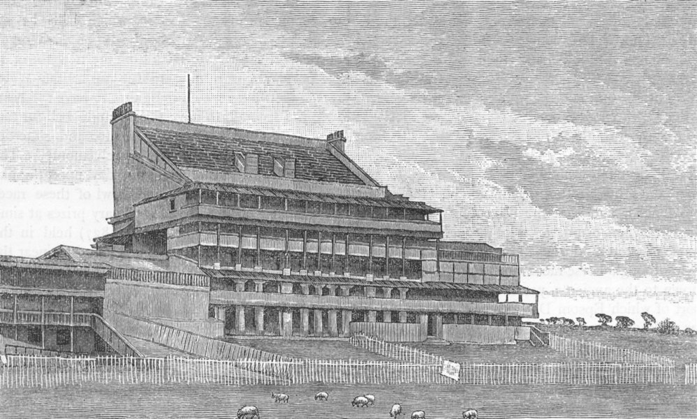 Associate Product EPSOM RACES. Epsom Grand Stand. Surrey 1888 old antique vintage print picture