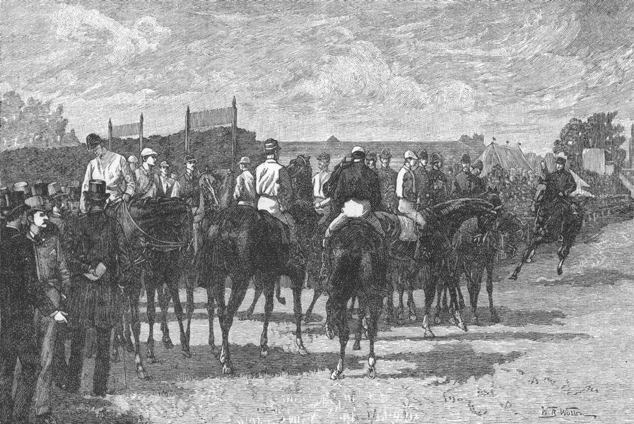 "Associate Product EPSOM RACES. ""Jockeys Out!"". Surrey 1888 old antique vintage print picture"